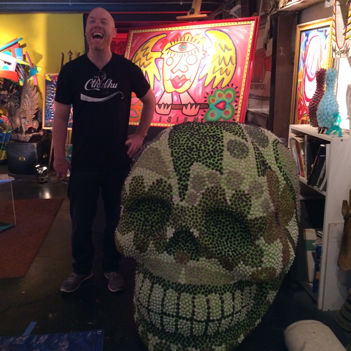 Andre Miripolsky is known for his absolute ads, costume designs for Elton John, set designs for The Tonight Show, murals for schools and Pershing Square AND this cool skull head!
