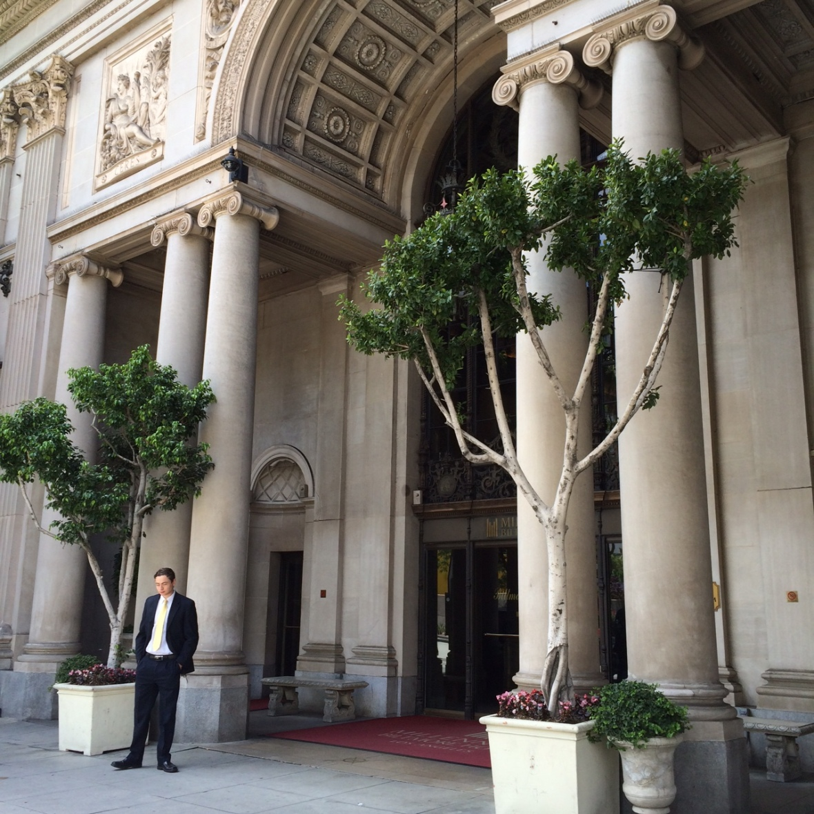 The front entrance of the Biltmore Hotel