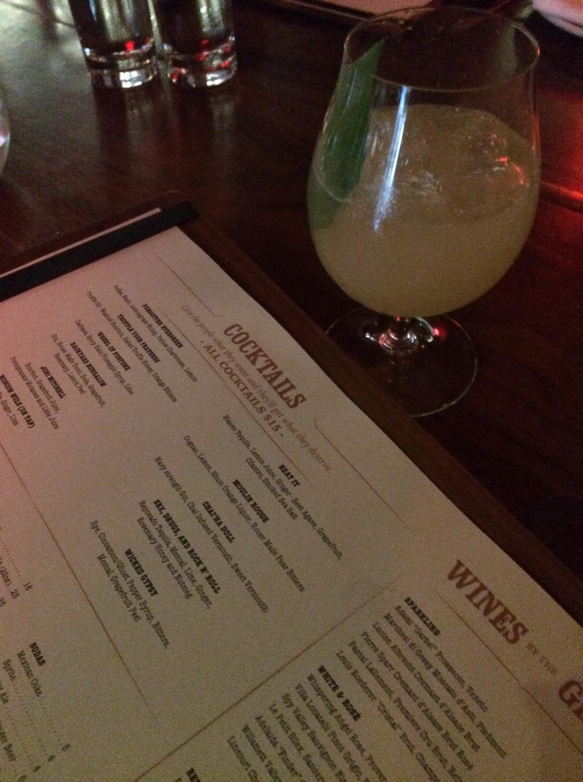 Great cocktail list at Estrella Sunset