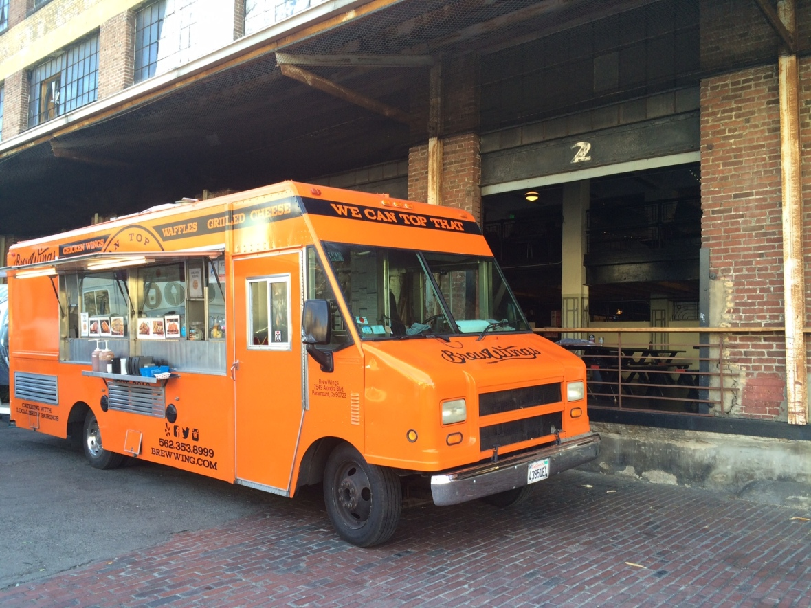 Get the deep fried chicken fingers and tater tots if you see this orange truck coming towards you!