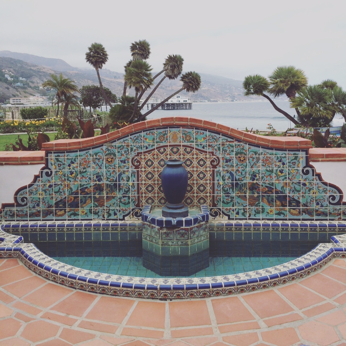 Fountain on the back patio overlooking the Pacific Ocean