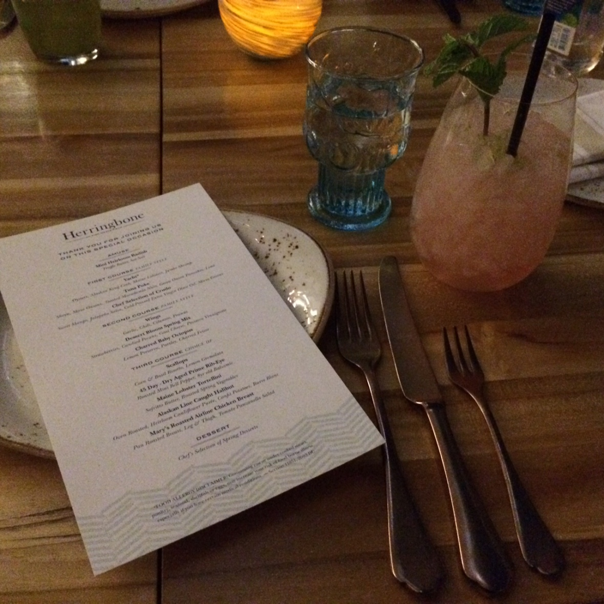 Harringbone menu