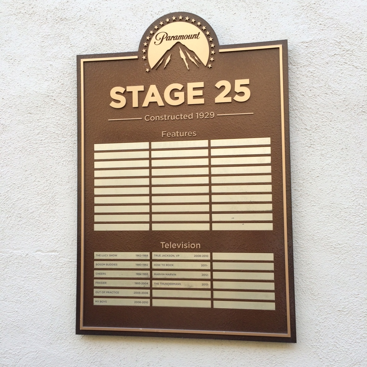 Each stage has a plaque showing what's been filmed in that particular building.