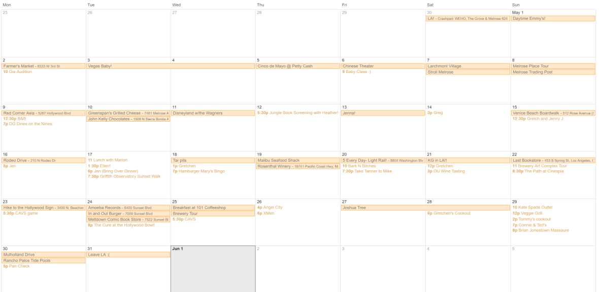 My Google calendar where I planned my 30 things in 30 days in LA. I even exceeded my own expectations!