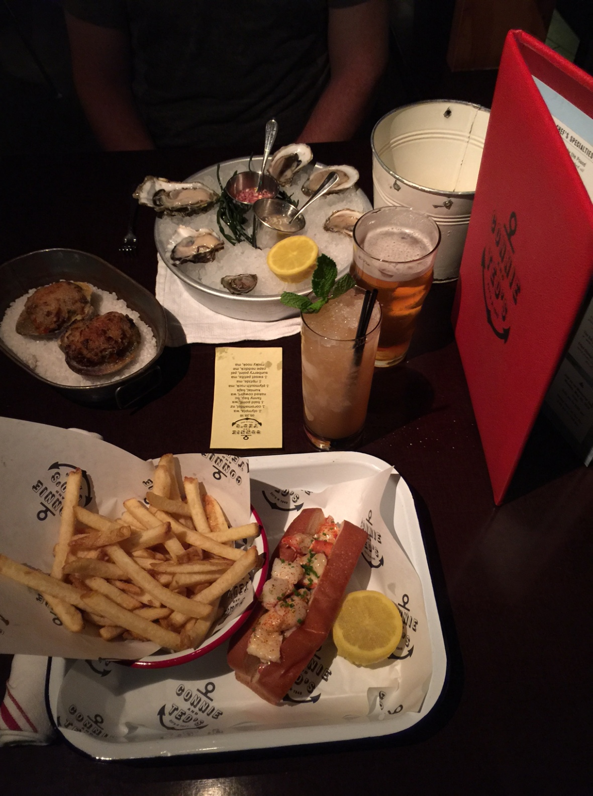Lobster roll and oysters